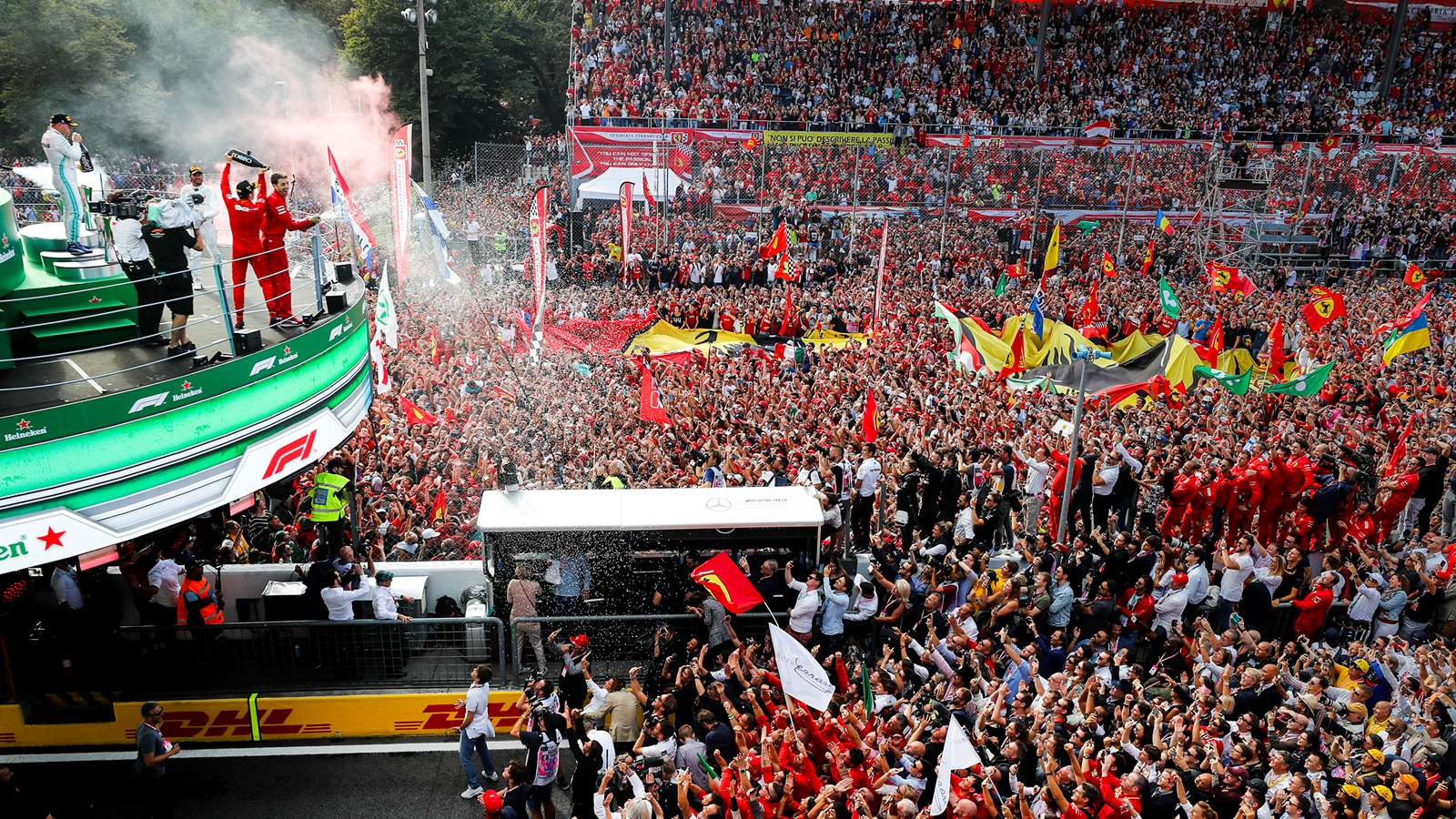 Charles Leclerc celebrates victory at the 2019 Italian Grand Prix